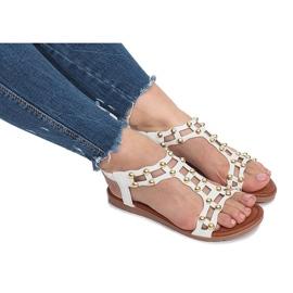 Białe płaskie sandały rzymianki Summer 6