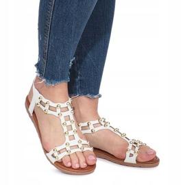 Białe płaskie sandały rzymianki Summer 2