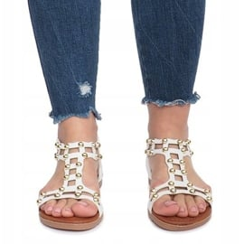 Białe płaskie sandały rzymianki Summer 1