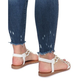Białe płaskie sandały rzymianki Summer 4
