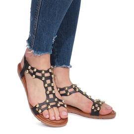Czarne płaskie sandały rzymianki Summer 2