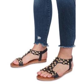 Czarne płaskie sandały rzymianki Summer 5