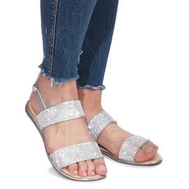 Srebrne płaskie sandały z diamentami Indulge szare 2