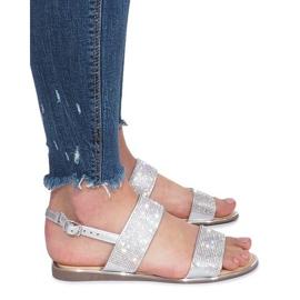 Srebrne płaskie sandały z diamentami Indulge szare 3