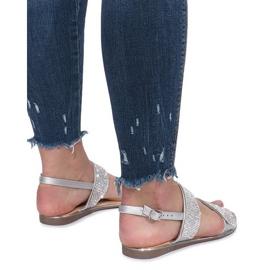 Srebrne płaskie sandały z diamentami Indulge szare 4