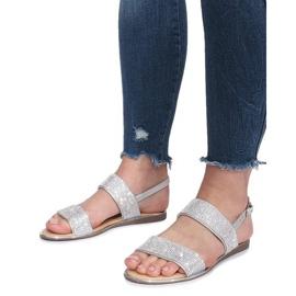 Srebrne płaskie sandały z diamentami Indulge szare 5