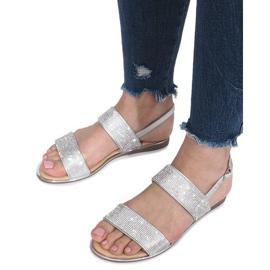 Srebrne płaskie sandały z diamentami Indulge szare 6