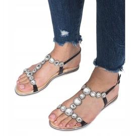 Czarne płaskie sandały z diamentami Indulge 3