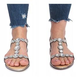 Czarne płaskie sandały z diamentami Indulge 1