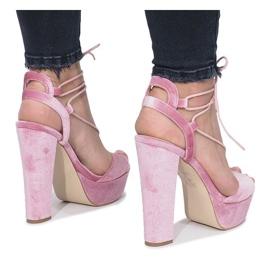 Różowe sandały na słupku z weluru Give It Up 3