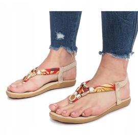Złote płaskie sandały z diamentami Sprat żółte 2
