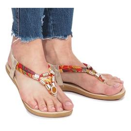Złote płaskie sandały z diamentami Sprat żółte 3