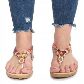 Złote płaskie sandały z diamentami Sprat żółte 1