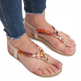 Złote płaskie sandały z diamentami Sprat żółte 4