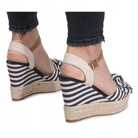 Marynarskie sandały na koturnie espadryle Blue Sea niebieskie 4