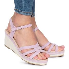Fioletowe sandały na koturnie Glavel 3