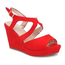 Czerwone sandały na koturnie Mosso 1