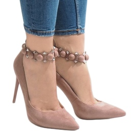 Różowe szpilki sandałki LE033P 2
