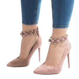 Różowe szpilki sandałki LE033P 1
