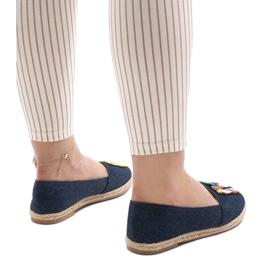 Granatowe espadryle trampki jeans H88-5 3