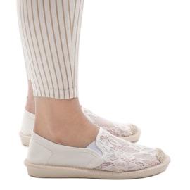 Białe espadryle trampki jeans LS701 2