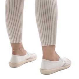 Białe espadryle trampki jeans LS701 4