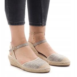 Szary sandały na koturnie espadryle LLI-3M88-7 szare 1
