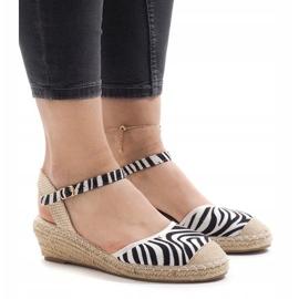 Zebra sandały na koturnie espadryle LLI-3M88-7 1