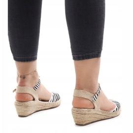 Zebra sandały na koturnie espadryle LLI-3M88-7 2