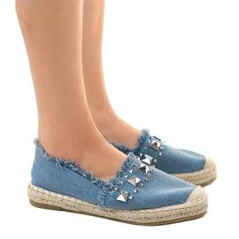 Niebieskie espadryle jeans A608 3