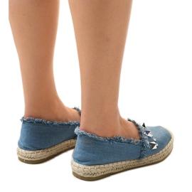 Niebieskie espadryle jeans A608 4