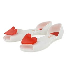 Białe meliski balerinki gumowe z sercem KM121-15 2