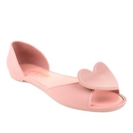 Różowe meliski balerinki gumowe z sercem KM121-24 1