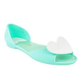 Zielone meliski balerinki gumowe z sercem KM121-14 1