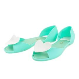 Zielone meliski balerinki gumowe z sercem KM121-14 3