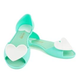 Zielone meliski balerinki gumowe z sercem KM121-14 4