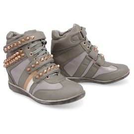 Sneakers Botki Na Koturnie F1001 Szary szare zielone 3
