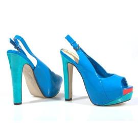 Czółenka Sandały Na Platformie A8030 Błękitny niebieskie 1