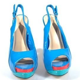 Czółenka Sandały Na Platformie A8030 Błękitny niebieskie 2