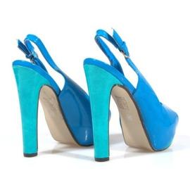 Czółenka Sandały Na Platformie A8030 Błękitny niebieskie 3