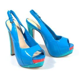Czółenka Sandały Na Platformie A8030 Błękitny niebieskie 4