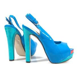 Czółenka Sandały Na Platformie A8030 Błękitny niebieskie 5