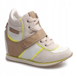 Modne Sneakersy Na Koturnie JT4 Beżowy 1