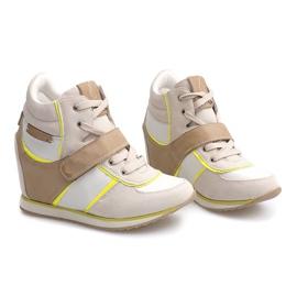 Modne Sneakersy Na Koturnie JT4 Beżowy 2