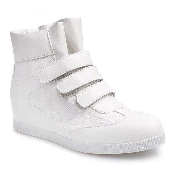 Modne Sneakersy Na Koturnie JT3 Biały białe