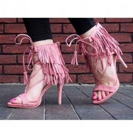 Sandały na szpilce z frędzlami Boho 8125 Różowy różowe 1