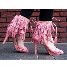Sandały na szpilce z frędzlami Boho 8125 Różowy różowe 2