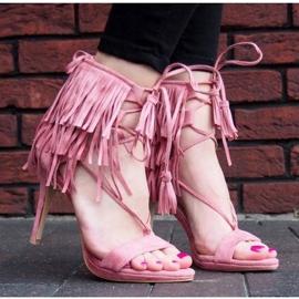 Sandały na szpilce z frędzlami Boho 8125 Różowy różowe 3