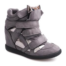 Sneakersy Na Koturnie Na Rzepe 6041 Szary szare 2