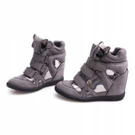 Sneakersy Na Koturnie Na Rzepe 6041 Szary szare 1